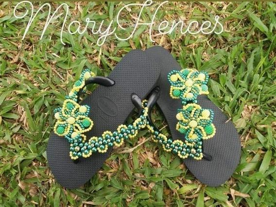 Chinelo Havaianas Personalizado Verde E Amarelo