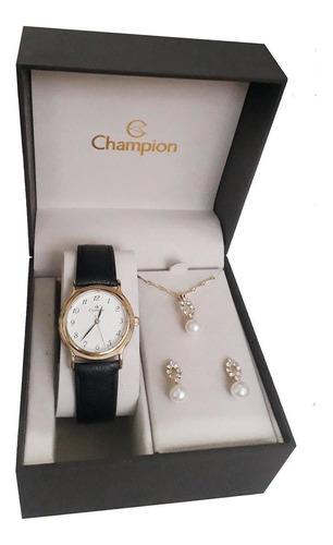 Kit Relógio Feminino Champion Cn28026w Caixa Dourada Casual
