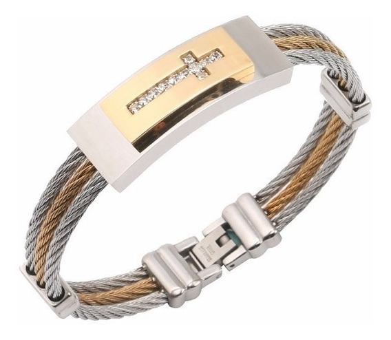 Pulseira Masculina Bracelete Aço 316 Ouro 18k Pedra