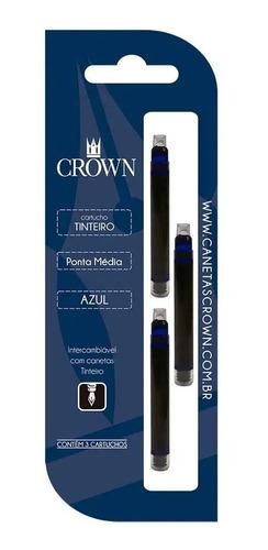 Kit 3 Cartucho Carga Refil Crown Caneta Tinteira Ca32005