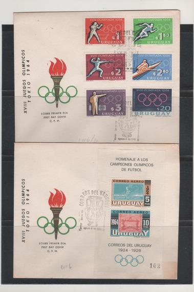Uruguay 1964 Juegos Olimpicos 2 Sobres Pde