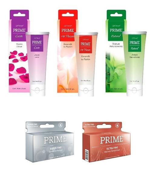 Combo Prime Natural Preservativos X 24 Unidades + 3 Geles