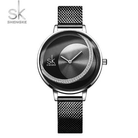 Relógio Feminino Inox Casual Pulseira Aço 30m - Preto