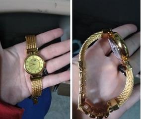 Relógio De Pulso Dourado Feminino