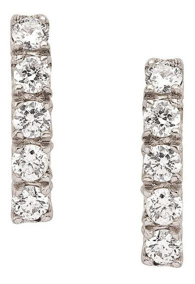 Brinco Meia Argola Em Ouro Branco Com Diamantes