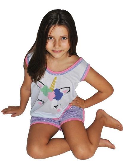 026 Baby Short Doll Camiseta Regata Unicórnio Infantil Novo