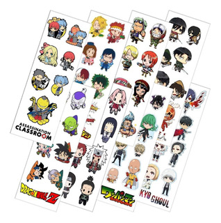 Combo De 8 Planchas De Stickers De Anime Naruto Dragon Ball