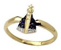 Anel Nossa Senhora Em Ouro 18k Com Safiras E Brilhantes