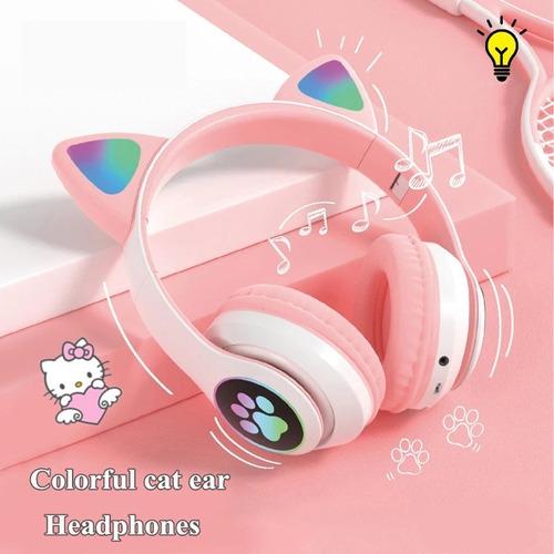Audifonos Bluetooth Con Orejas De Gatito Luz Led