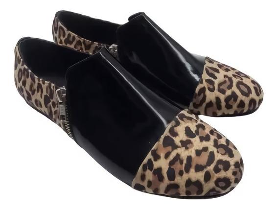 Chatitas Balerinas Doble Cierre Mujer Zapato Cuero 211/os