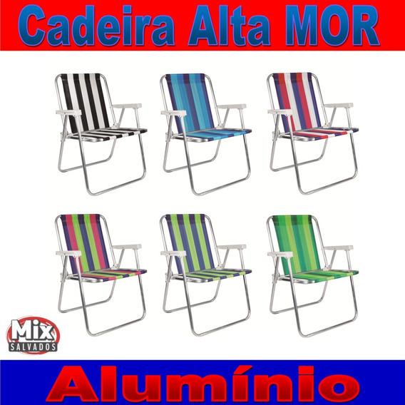 2 Cadeira Alta Alumínio Praia Camping Dobrável Mor