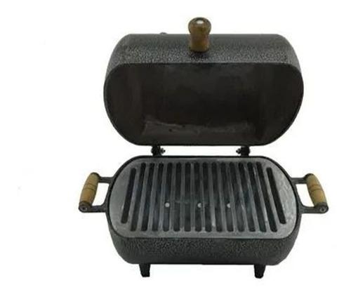 Imagem 1 de 4 de Mini Churrasqueira A Bafo Alumínio Craqueada C/grelha Prata