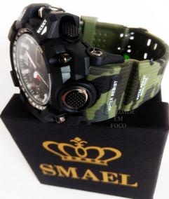 Relógio Masc Camuflado Smael Original Militar Prova D´ Água