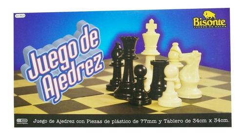 Imagen 1 de 3 de Ajedrez Fichas Plásticas Tablero 34x34