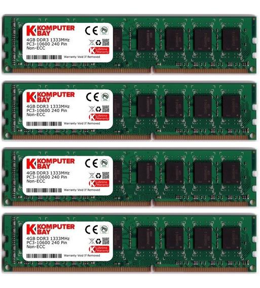 Memoria Ram 16gb Komputerbay (4 X 4gb) Ddr3 Dimm (240 Pin) 1333mhz Pc3 10600 / Pc3 10666 16 Gb Kit