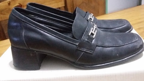 Zapatos Nº 38 Tipo Mocasín Con Taco.. Usado Muy Buen Estado
