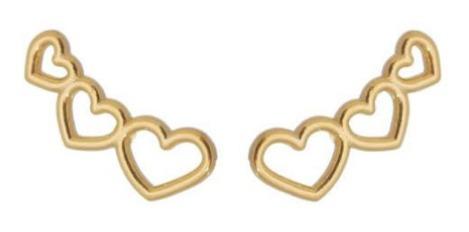 Brinco Ear Cuff Corações Vazados Banhado A Ouro 18 K