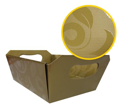 1 Cesta De Papel Decorada 21x8,5x14,5cm. Ouro