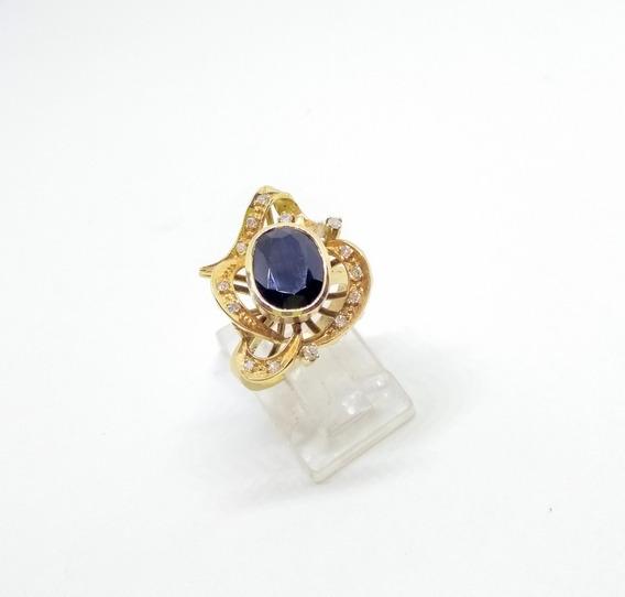 Anillo Vintage En Oro De 14k Zafiro Natural Y Diamantes