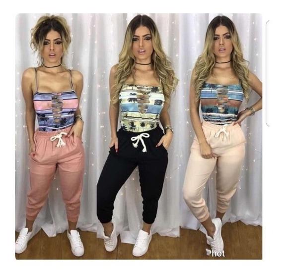 Calça Jogger Bomber Linho Feminina Moda Instagram 2019