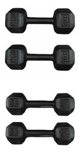 Imagen 1 de 3 de Kit De Mancuernas Pesas En Hierro De 5kg Y 10kg Gym