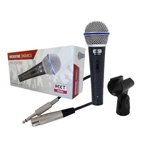 Microfone Dinâmico Pro Btm 57a Com Cachimbo Estojo Cabo 4.5m
