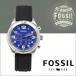 Reloj Fossil Bq1244-talco Azul-manilla Negra-resist Agua