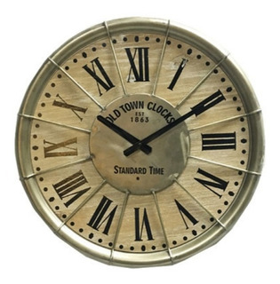 Reloj De Pared Madera Chapa Antiguo 46cm Vintage Chapa