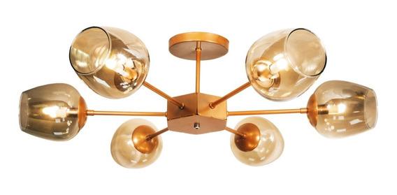 Lustre Sputnik Luminária Com Bolas Taça De Vidro Fumê Cobre