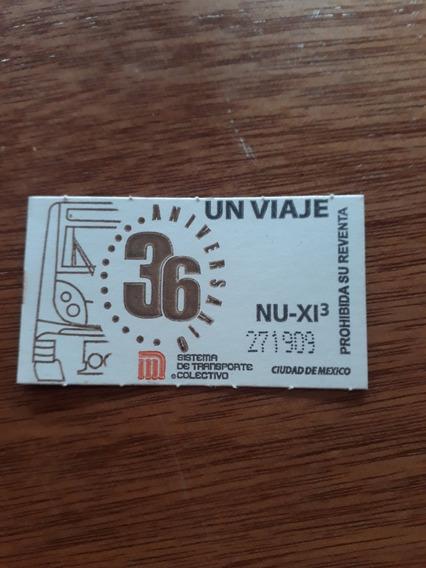 Boleto Del Metro Cdmx 36 Aniversario Coleccionable.