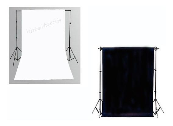 2 Tecido 3x4 Preto/branco + Suporte Fundo Infinitoestúdio Fotográfico Chroma Key Igreja Ring Ligth Iluminador Youtuber