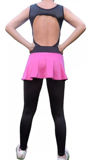 Trusa Lycra + Falda Dama Niña Mujer Gym Danza Baile Ciclismo