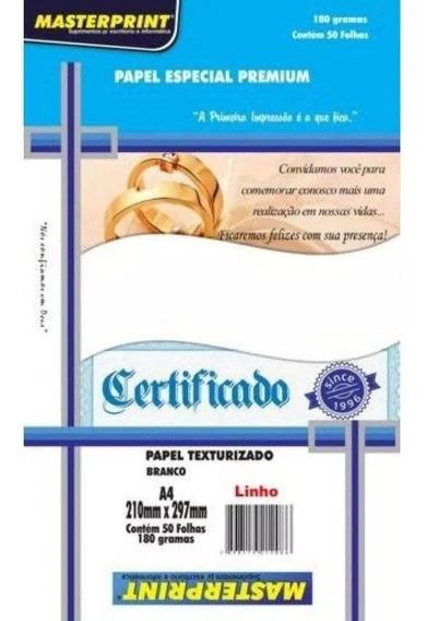 Papel Especial A4 Linho Branco 180g Masterprint C/100 Folhas