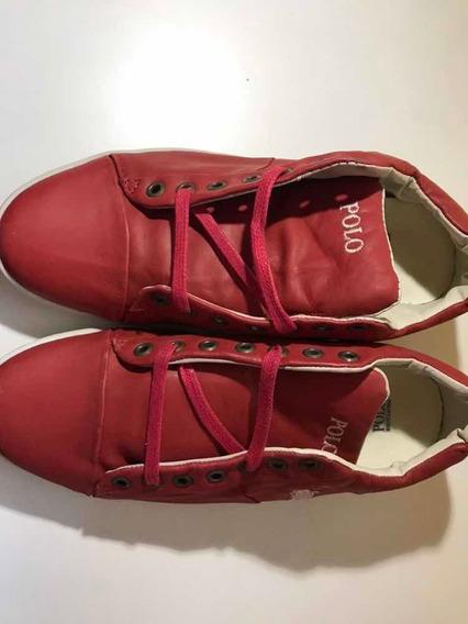 Tênis Polo Unissex 37 Couro Vermelho