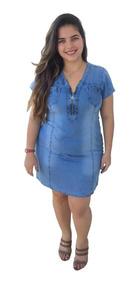 Roupas Femininas Vestido Plus Size Médio Ziper E Bolsos 024