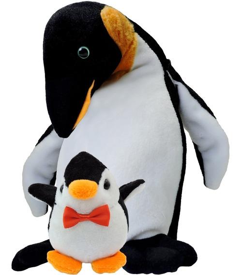 Pelúcia Pinguim Com Filhote Em Promoção Pronta Entrega