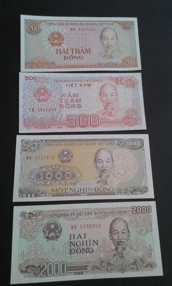 Lote 4 Cédulas Vietnã 200, 500, 1000, 2000 Dong Fe