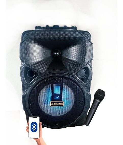 Caixa De Som C/ Led Bluetooth Portátil Hi-fi Microfone