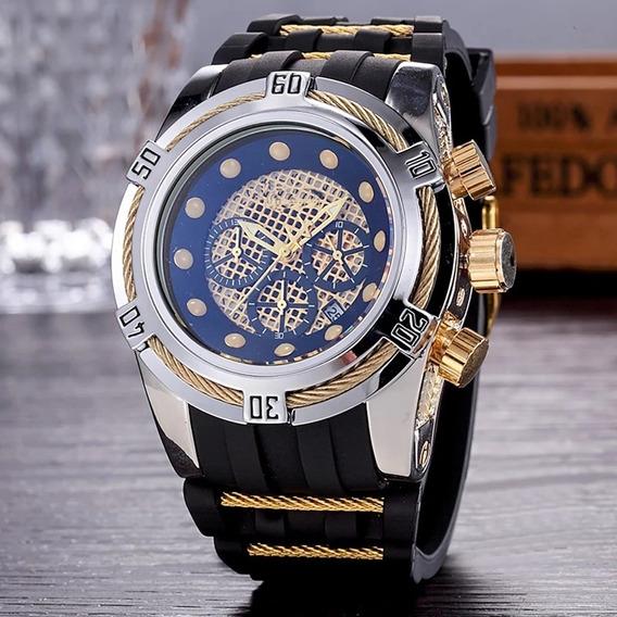 Relógio Prateado Com Detalhes Dourados Pulseira De Silicone