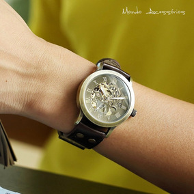 Relógio De Luxo Mecânico Automático Skeleton Masculino Inox