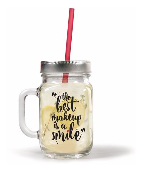 Caneconserva Com Canudo - Mason Jar - Smile - Uatt