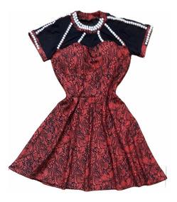 Vestido Evase Curto Bordado Pedraria Gode Vestidos Elegante