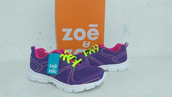 Tenis Deportivo Zoe Y Zac Para Niña Talla 4 Morado/rosa