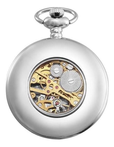 Relógio De Bolso Mecânico Oco Cadeia Mulheres Homens Relógio