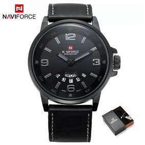 Relógio Masculino Naviforce 9028 Pulseira De Couro Original!