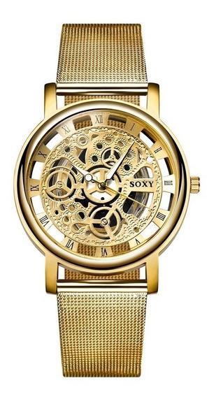 Relógio Unissex Esqueleto Ouro