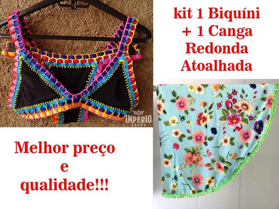 Kit Praia 1 Biquíni Kiini Neon Crochê + 1 Canga Redonda Atoalhada Pompom Tendência Verão 2019 / 2020 Frete Grátis
