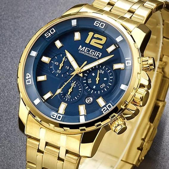Relógio Masculino Megir Dourado Cronógrafo Original