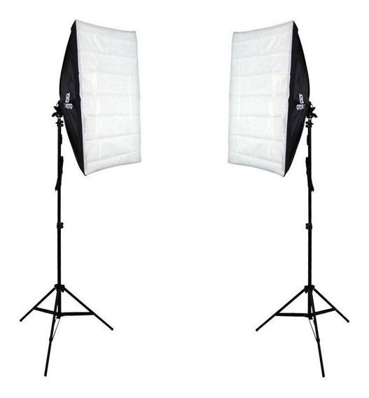 Kit De Iluminação Duplo Softbox Com Tripé P/ Foto E Video