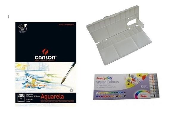 Kit Papel Canson Aquarela + Aquarela Pentel 24 Cores + Godê